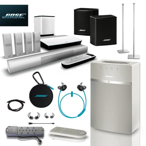 Bose SoundTouch 10 (White) + Aqua SoundSports + 5 pc Acc Bundle