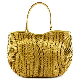 Cole Haan Genevieve Women Leather Gold Tote