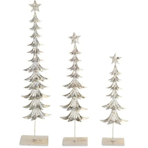 Pack of 2 Decorative Frost White Set of 3 Metal Tree with Star