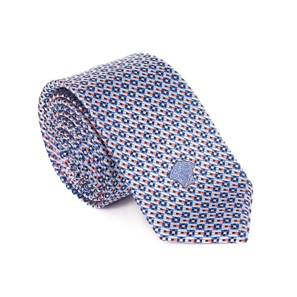 055d3c9202eb Shop Gianni Versace Men Silver Multicolored Pixel Pure Silk Medusa ...