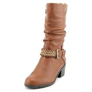 Thalia Sodi Jannice Women Round Toe Synthetic Brown Mid Calf Boot