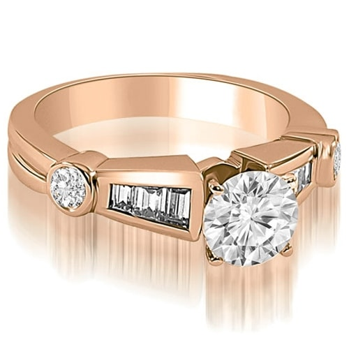 1.70 cttw. 14K Rose Gold Antique Style Round Baguette Diamond Engagement Ring