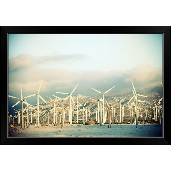 """Wind turbines with mountains in the background, Palm Springs, California"" Black Framed Print"