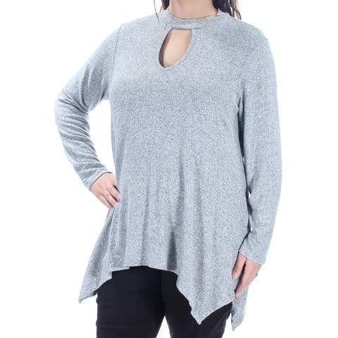 ING Womens Gray Long Sleeve Keyhole Trapeze Top Plus Size: 1X