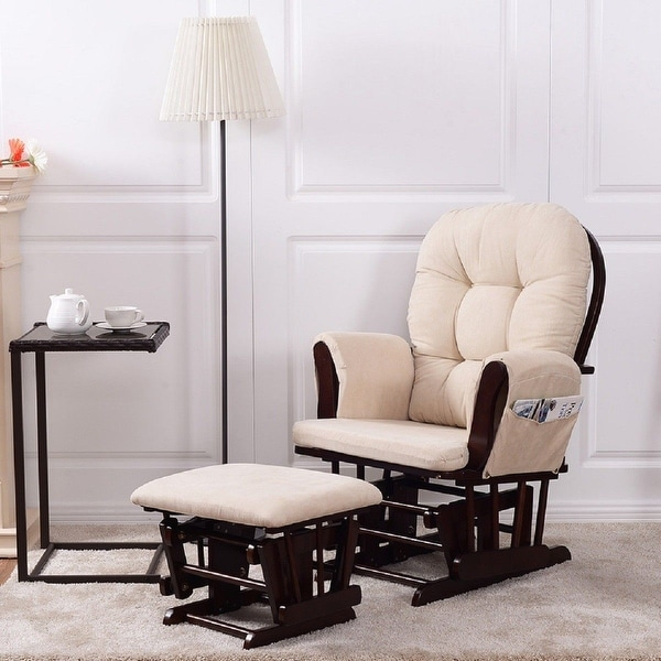 Costway Baby Nursery Relax Rocker Rocking Chair Glider Ottoman Set W Cushion Beige