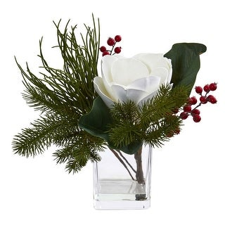Nearly Natural Magnolia & Berries Artificial Arrangement in Vase