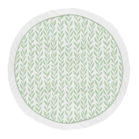 Floral Leaf Collection Girl Baby Tummy Time Playmat - Green and White Boho Farmhouse - Multi-Color