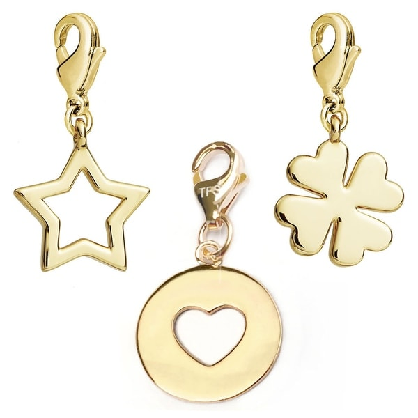 Julieta Jewelry Heart Disc, Star, Clover 14k Gold Over Sterling Silver Clip-On Charm Set