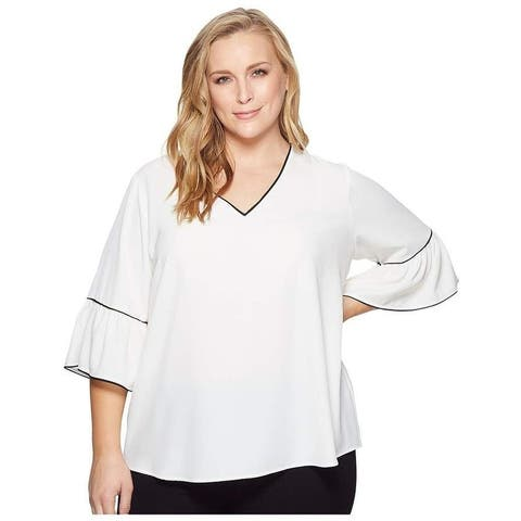 Calvin Klein Women's Plus Size V-Neck Blouse White Size 2X