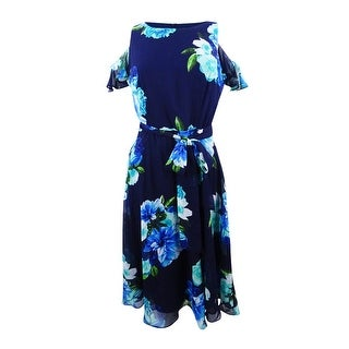 Jessica Howard Women's Petite Floral-Print Cold-Shoulder Dress - ROYAL (2 options available)