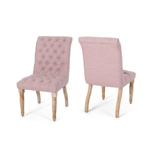 """Set of 2 Pink and Brown Traditional Tufted Dining Chairs 36.25"""""""