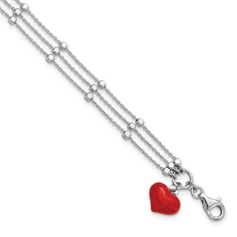 Sterling Silver Rhodium-plated Enameled Red Heart with 2-inch Extension Bracelet by Versil