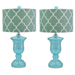 Aspire Home Accents 9359 Rochelle Glass Table Lamp (Set of 2)