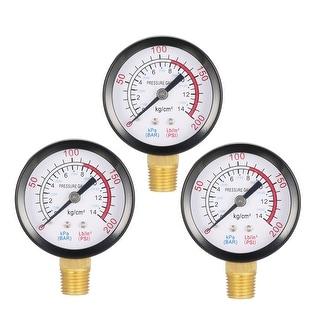 """Pressure Gauge , 0-200 PSI/0-14BAR  , 1.8"""" Dial Display , 1/4"""" NPT Male 3pcs"""