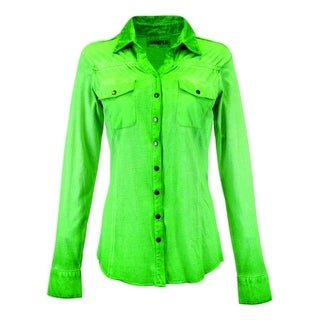 Cowgirl Tuff Western Shirt Womens Long Sleeve Rouched Yoke Lime