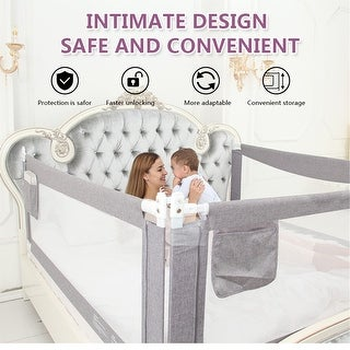 80'' Extra Long and Tall Baby Bed Rail Guard for Baby Kids Child Infants - 80''L