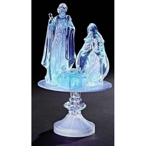 "12"" Battery Operated LED Lighted Icy Crystal Nativity on Pedestal Table Top Figure"