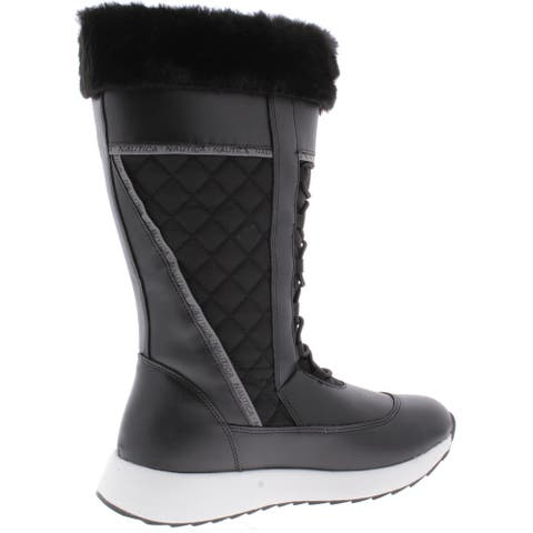 Nautica Womens Everly Winter Boots Faux Fur Tall - Black