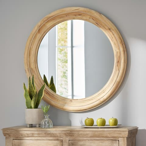 Beall Indoor Wood Round Mirror by Christopher Knight Home