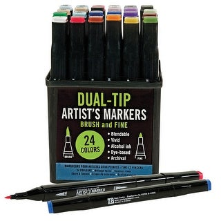 Studio Series Professional Alcohol Color Markers - Dual Tip - 24 Pack - Multicolored