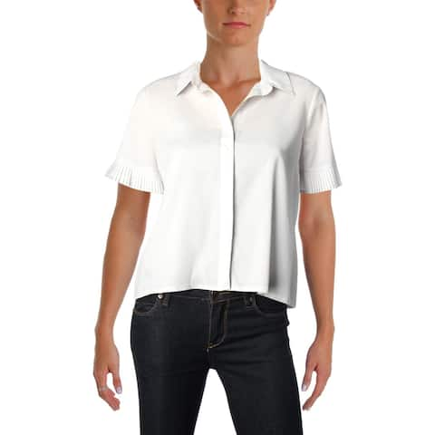 French Connection Womens Polly Plains Blouse Pleated Short Sleeves