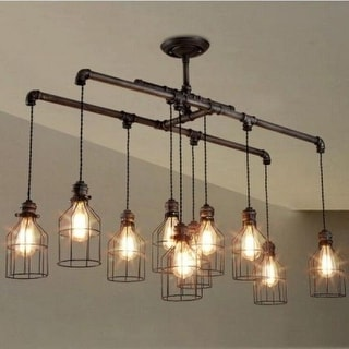 island lighting. Industrial 10-Light Linear Chandelier Island Lighting With Metal Shade