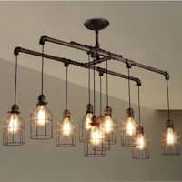 Industrial 10-Light Linear Chandelier Island Lighting with Metal Shade