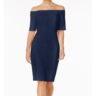 Calvin Klein Navy Women Crepe Off-Shoulder Sheath Dress