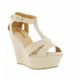 Red Circle Footwear 'Susana' Strappy T-Strap Wedge