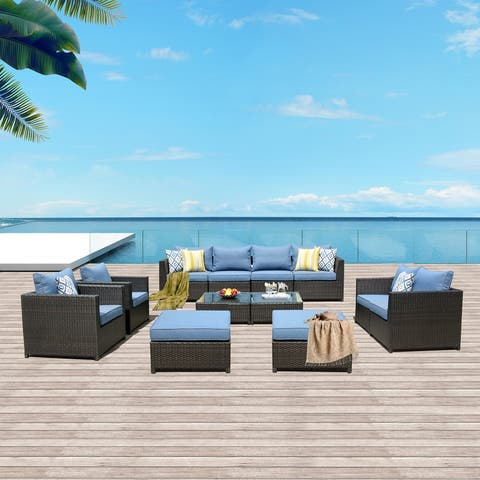 Ovios Patio Furniture Set Big Size Outdoor Furniture 12 Pcs Set PE Rattan Wicker sectional with 4 Pillows and 2 Furniture Covers