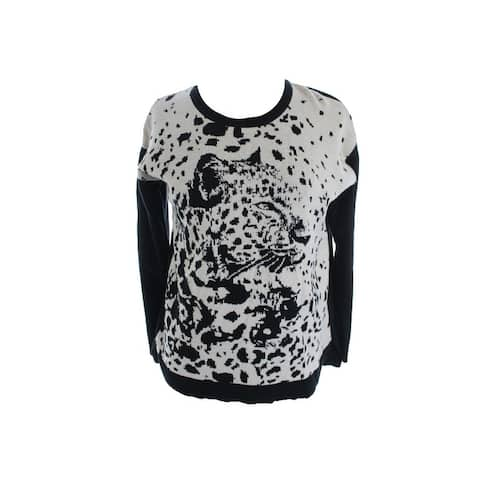 Kensie Black Long-Sleeve Animal-Print Colorblocked Sweater XS