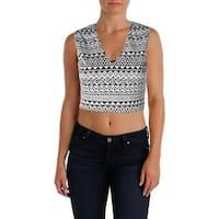 Aqua Womens Crop Top Textured Striped