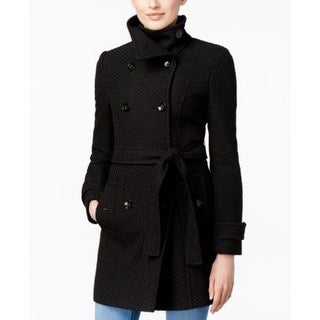 Calvin Klein Funnel-Collar Textured Peacoat in Black