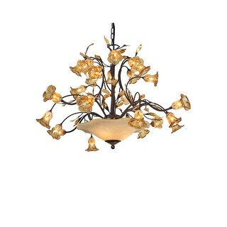 Meyda Tiffany 82760 Twenty-Seven Light Up / Down Lighting Chandelier from the Celestial Bouquet Collection - Bronze