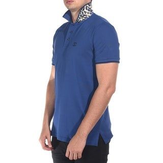 Just Cavalli Men's Classic Fit Piquet Polo UnderCollar Feature Blue