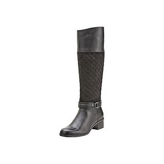 Bandolino Women's Tall Quilted Shaft Riding Boot with Ankle Hardware Detail