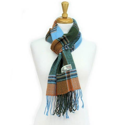 Plaid Cashmere Feel Classic Soft Luxurious Scarf For Men And Women - Blue
