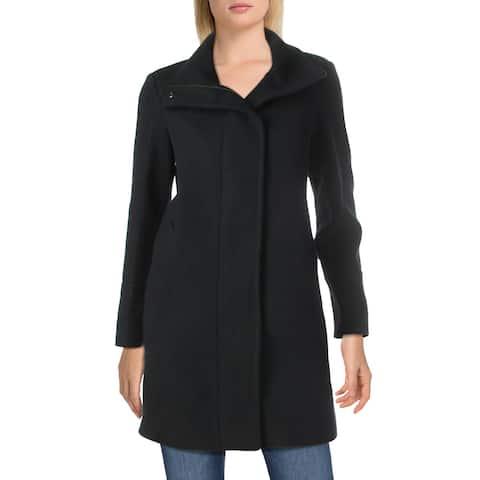 Cole Haan Womens Grand Series Coat Winter Wool Blend - Navy