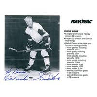 Signed Howe Gordie 5x7 Promo Personalized Horizontal fold through the card autographed