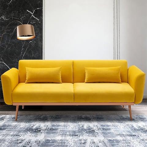 Velvet Upholstered Convertible Loveseats Sleeper Sofa With Gold Legs