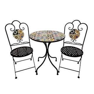 Kanstar 3 Piece Outdoor Bistro Set, Premium Steel Patio Table and Chair Bistro Set