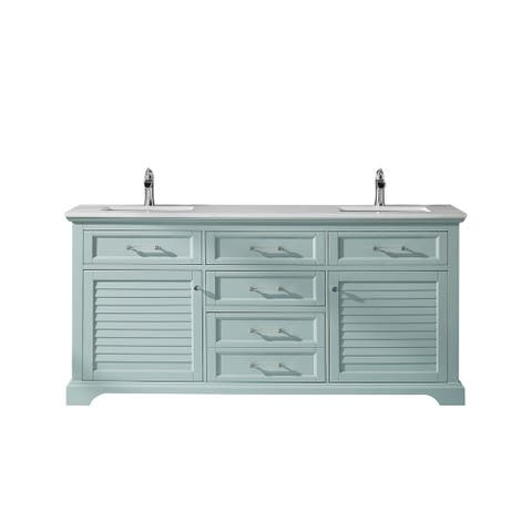 """Lorna 72"""" Double Vanity in Green Finish with Composite Carrara White Stone Countertop Without Mirror"""