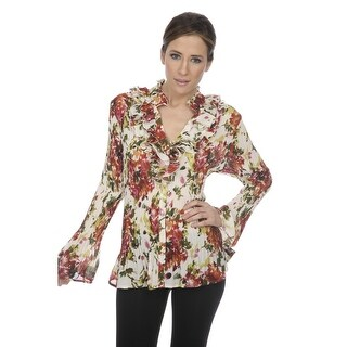 Cathaya Women's Red Green Floral Print Ruffled Pleated Plus Size Shirt