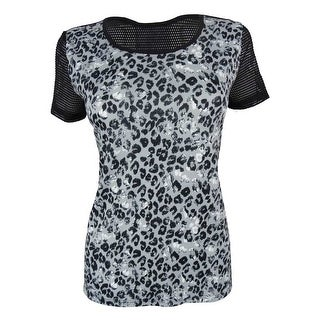 Jessica Simpson Women's Animal Print Short Sleeve Active Top - M