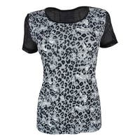 Jessica Simpson Women's Animal Print Short Sleeve Active Top - glowing white - M