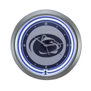 NCAA Penn State University 15 inch Neon Wall or Tabletop Clock - White