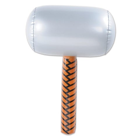 """Pack of 6 Brown and Stone Gray Inflatable Sledge Hammer Party Accessories 18"""""""