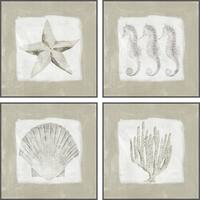 """Marmont Hill MH-JULCST-615088-GWFF-48  Four Piece 24"""" x 24"""" Sea Fun Framed Giclee Painting Set on Canvas - Gray"""