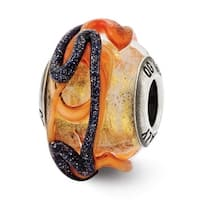 Italian Sterling Silver Reflections Yellow w/ Blue & Orange Textured Lines Glass Bead (4mm Diameter Hole)