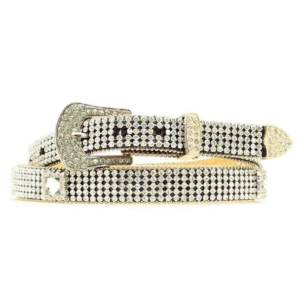 Nocona Western Belt Womens Leather Crystals Mesh Silver Black